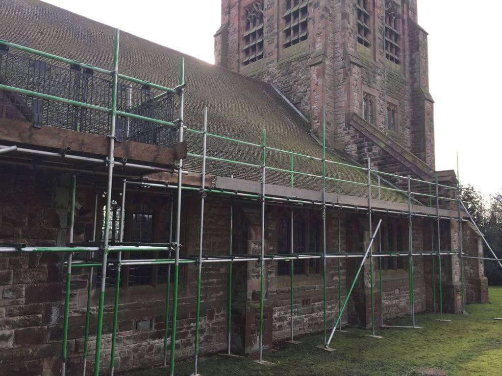 Longsdon Church – Scaffold for new roof, supplied with rubble chute – rear view