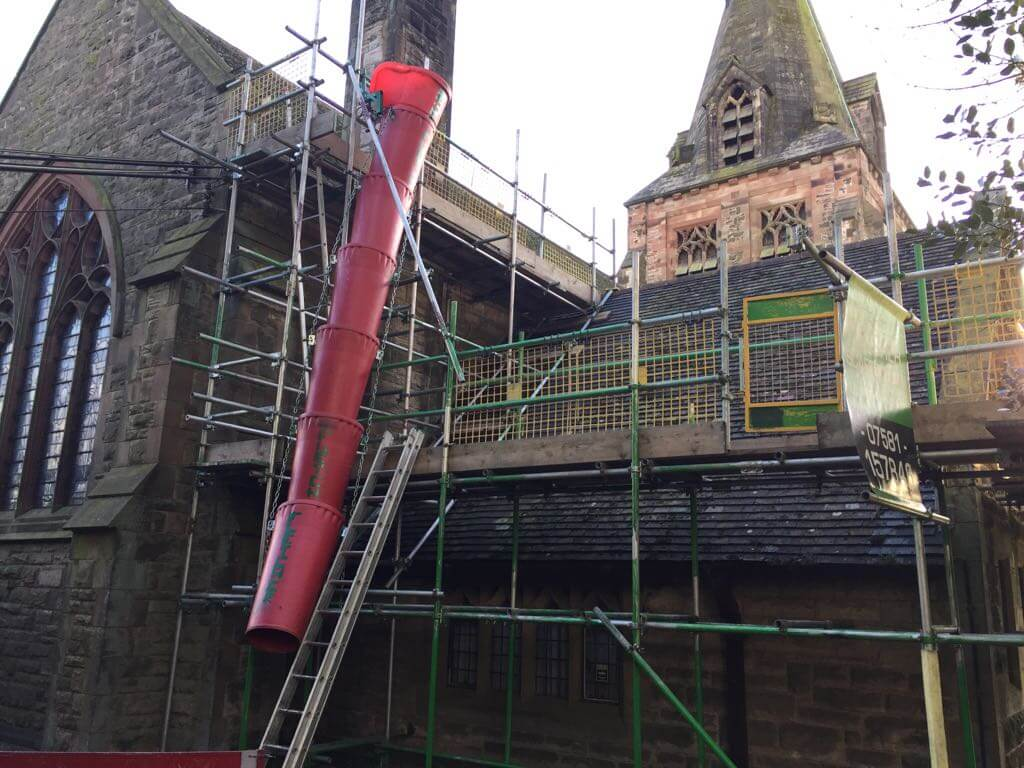 Longsdon Church – Scaffold for new roof, supplied with rubble chute