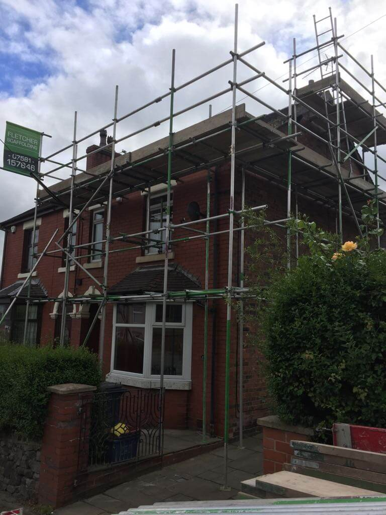 Mow Cop – Scaffolding erected for roof repairs and new fascia & guttering