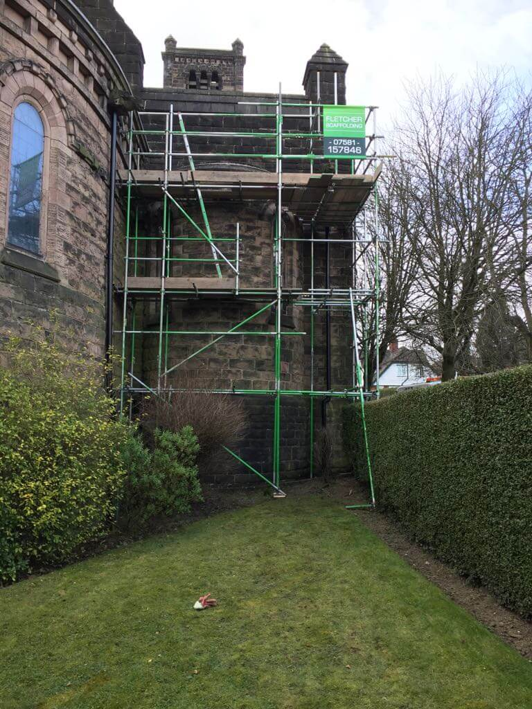 Tunstall Church – Scaffold erected for pointing of external brickwork