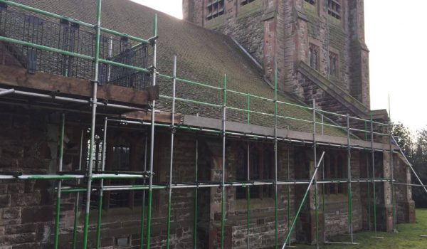 Longsdon Church - Scaffold for new roof, supplied with rubble chute - rear view